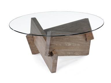 Magnussen Home Round Cocktail Table, T1861 45. Love The Glass With  Weathered Wood