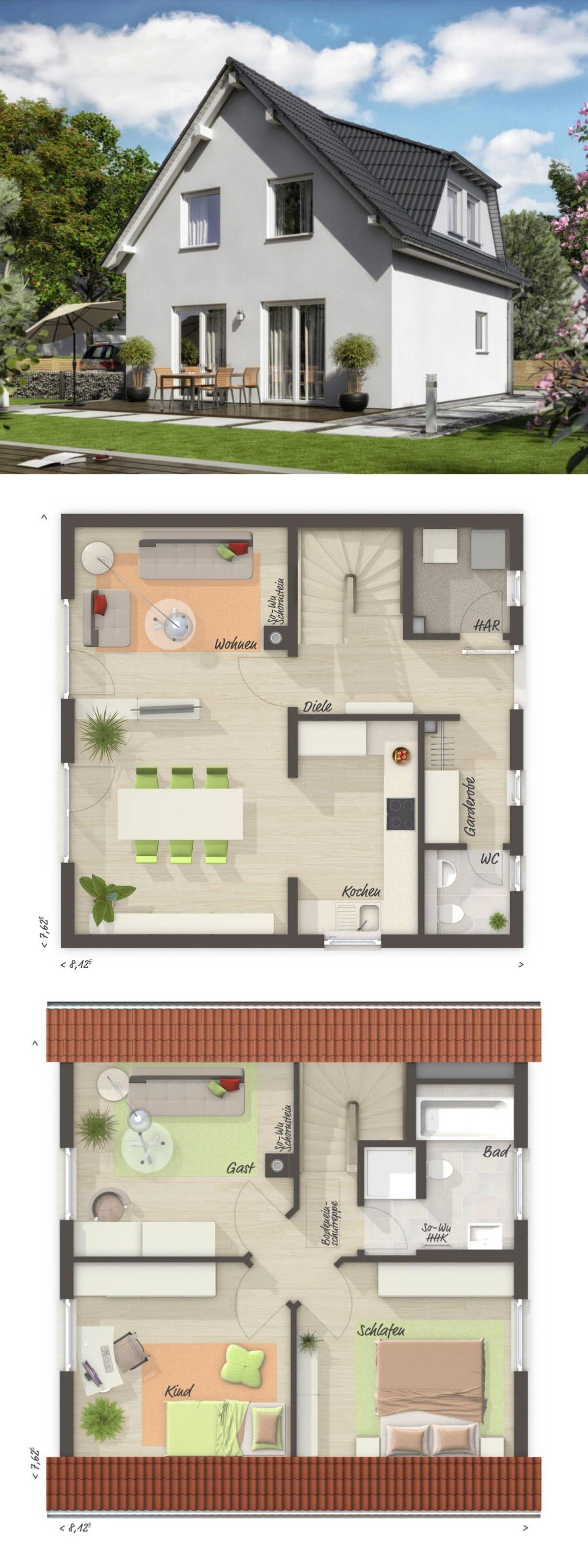 Klassisches einfamilienhaus grundriss mit satteldach for Einfamilienhaus bauen ideen