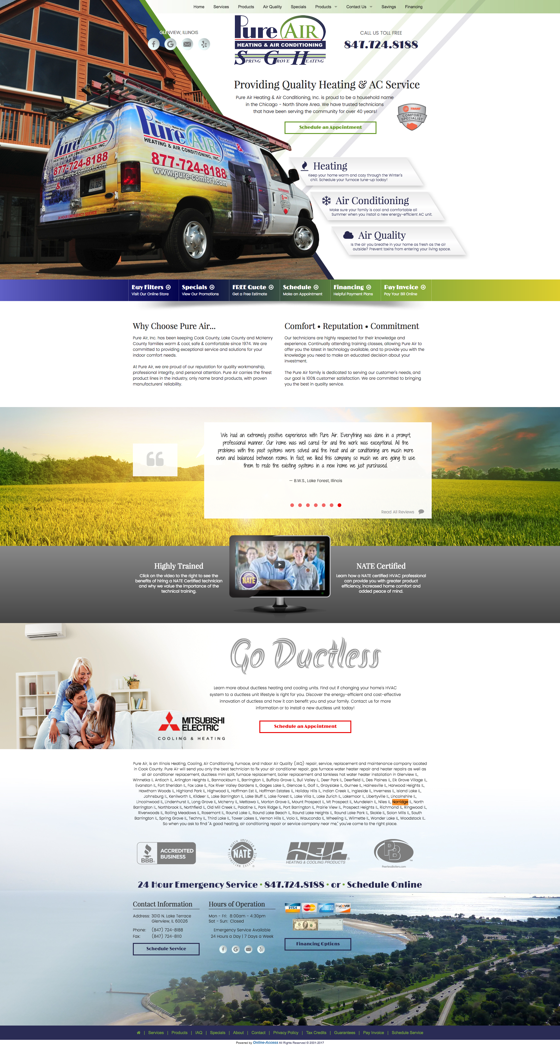Company Branded Heating And Air Conditioning Website Design In