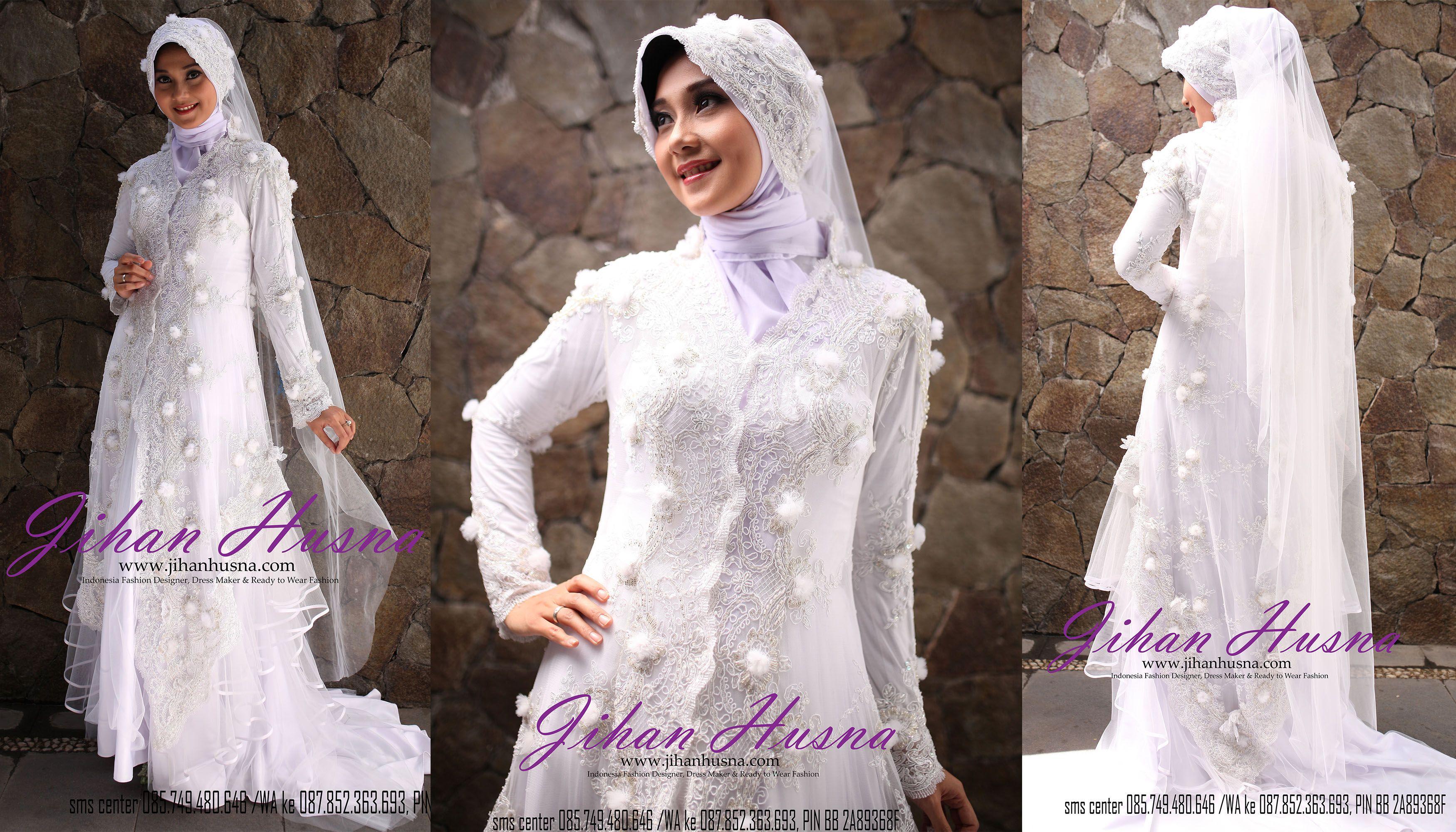 Wedding Dress Muslimah Kebaya Modern Tile Putih Dress Muslimah