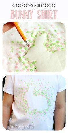 Eraser-Stamped Easter Bunny Shirt - Cutesy Crafts #eraserstamp