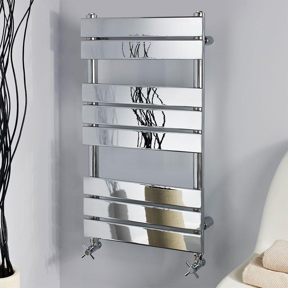Designer heated towel rails for bathrooms - Designer Chrome 800 X 450 Flat Panel Heated Bathroom Towel Rail Radiator