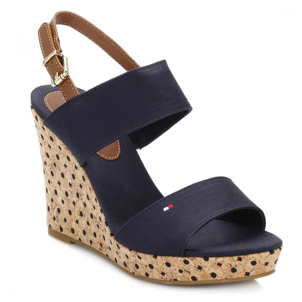Tommy Hilfiger Womens Midnight/Cognac Wedge Shoes