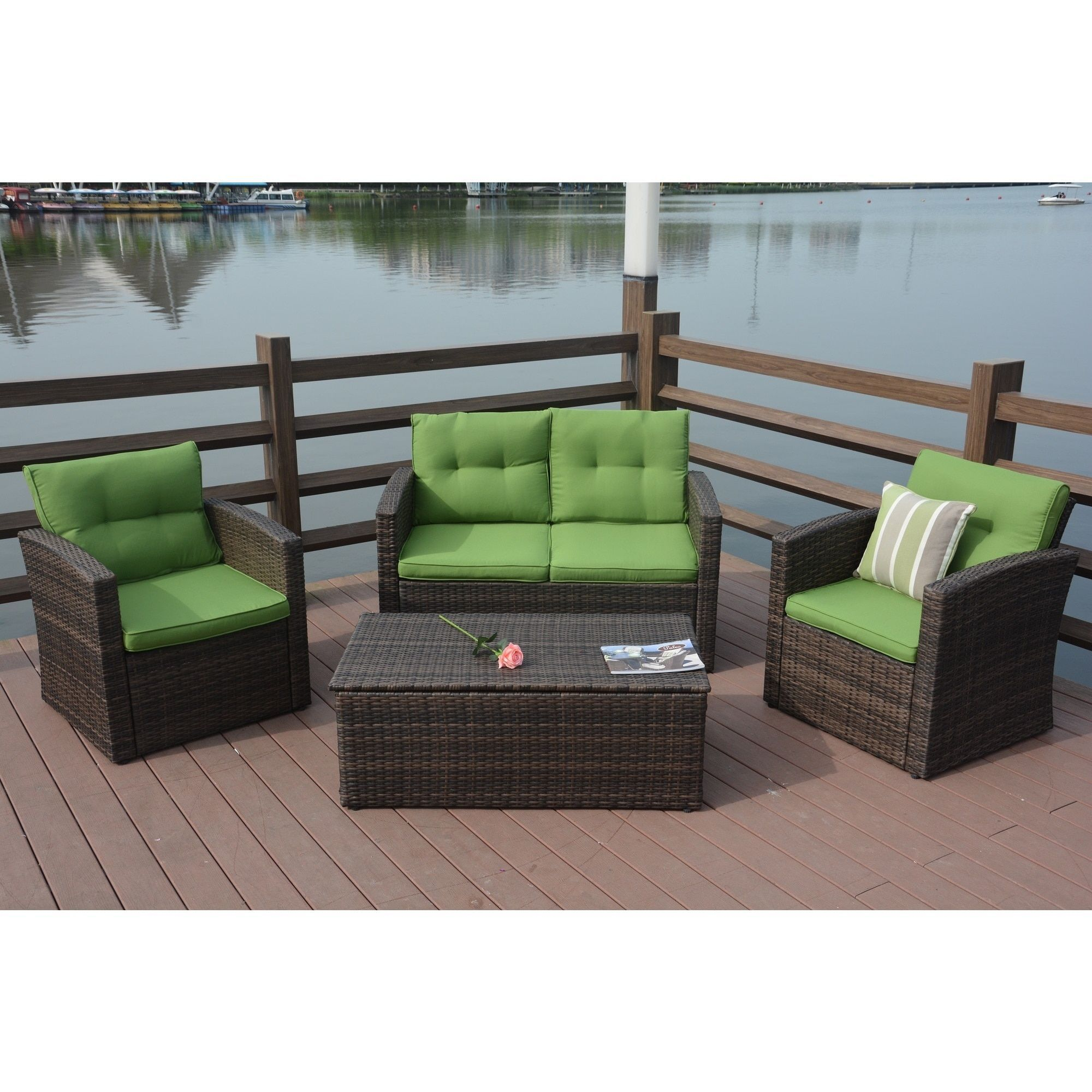 Puerta 4 piece Outdoor Rattan Patio Furniture Set with Cushion Box