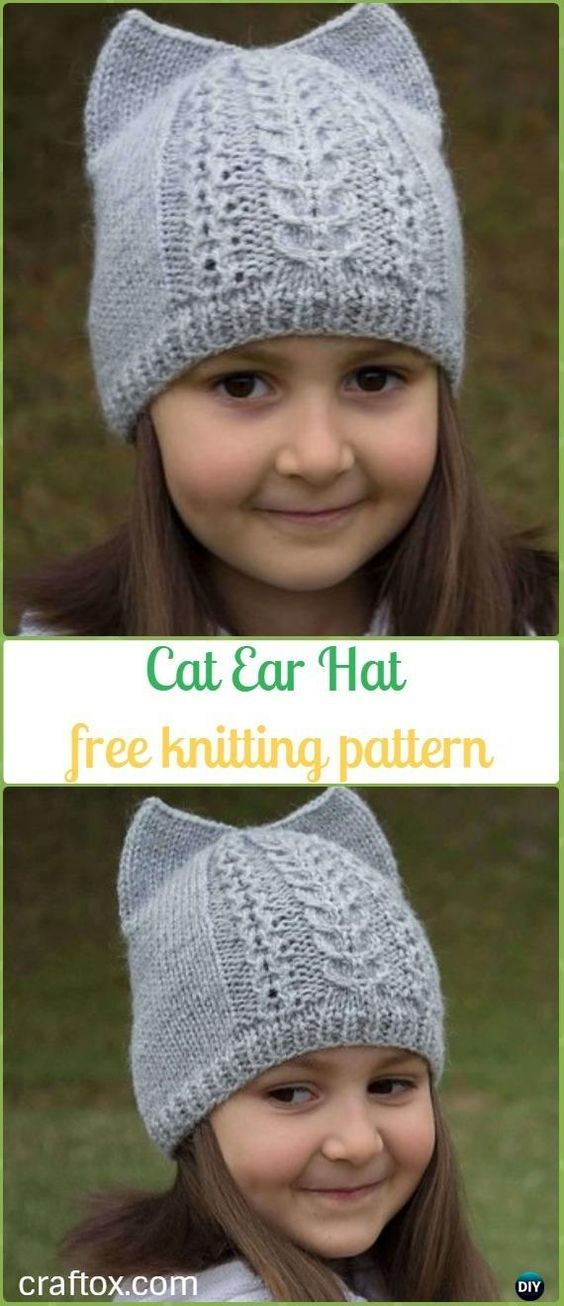 Fun Kitty Cat Hat Knitting Patterns Free and Paid | Ear hats, Cat ...