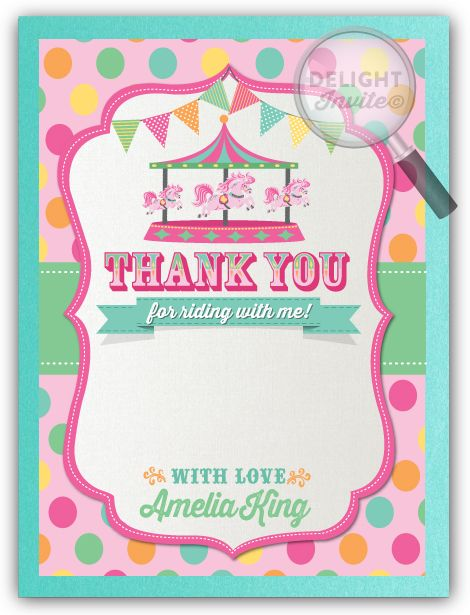 Vintage Carousel 1st Birthday Thank You Cards DI253TY Custom – Carousel Party Invitations