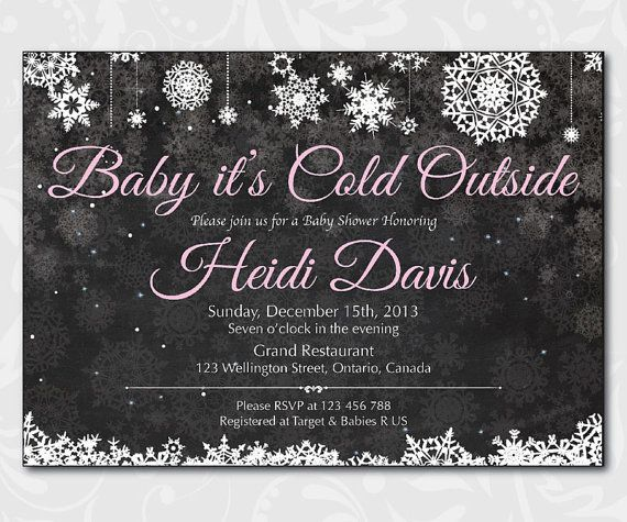 Holiday Baby Shower Invitation Baby Its Cold Outside Chalkboard