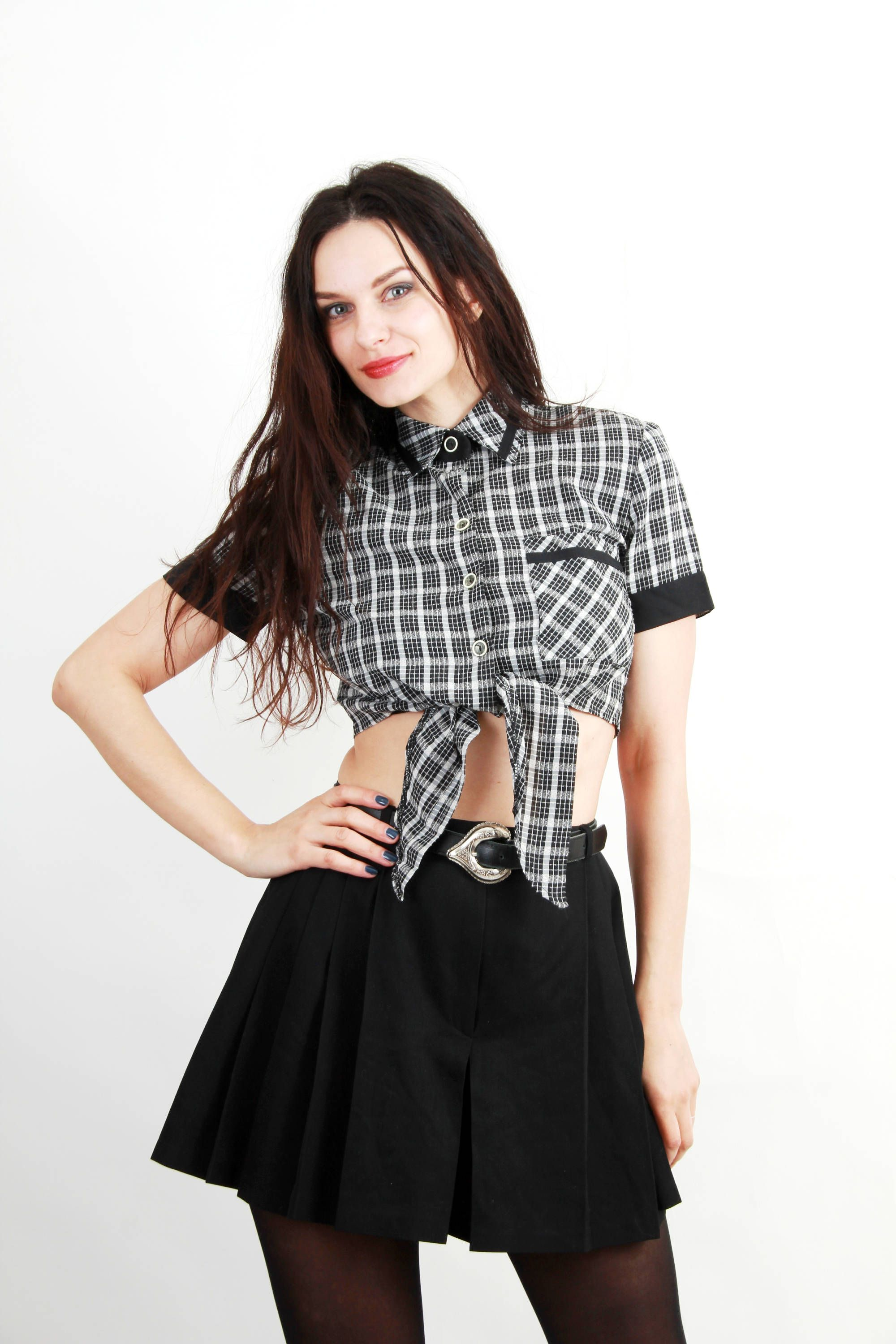 Vintage Plaid Tie Knot Top Cropped Top Tie Knot Blouse Size S