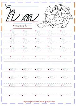 printable cursive handwriting tracing worksheets letter n for nest fpr education. Black Bedroom Furniture Sets. Home Design Ideas
