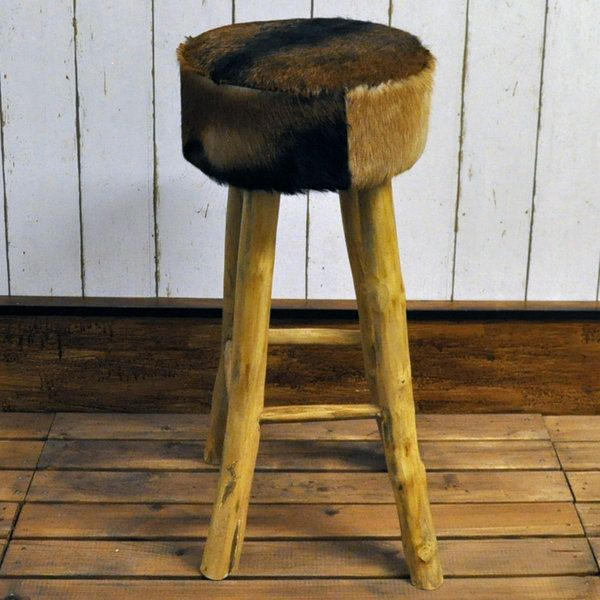 Goat Skin Round Leather Bar Stool With Wooden Legs