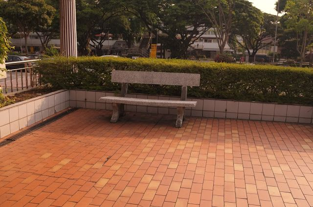 Bench on a brick floor at a park free picture for commercial use   Tags:  bench, brick floor, park seat, outdoor, outside seating, free p...