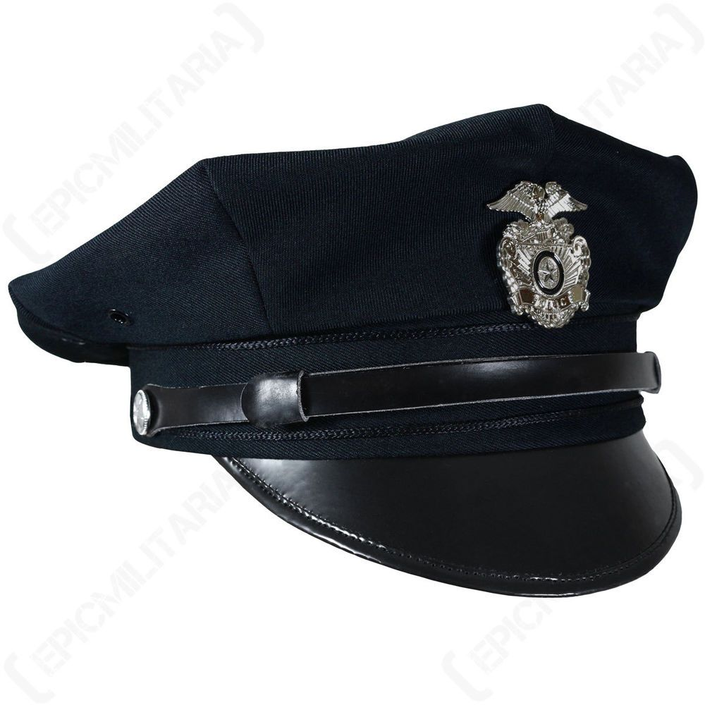 Blue Vintage US American POLICE FORCE 8 POINT VISOR CAP Officer Hat All Sizes