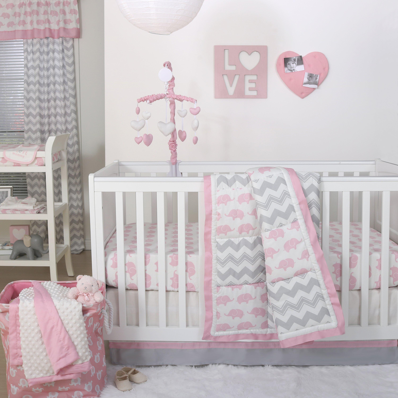 The Peanutshell Ellie Pretty Patch Crib Starter Set In Pink & Grey