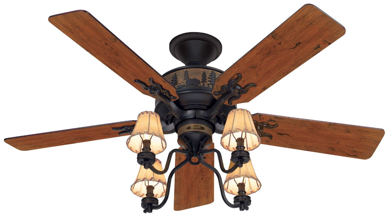 Hunter 52 Rustic Lodge Brittany Bronze 3 Speed Pull Chain Ceiling Fan Hr 20715 Ceiling Fan With Light Ceiling Fan Light Kit Hunter Ceiling Fans