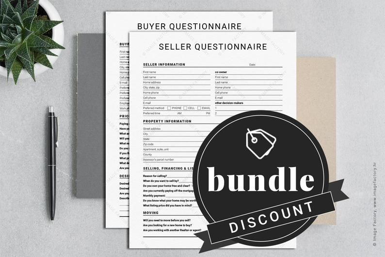 Bundle Real Estate Marketing Buyer Questionnaire Seller