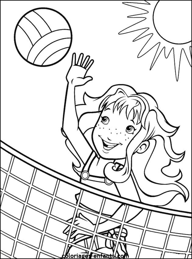 holly hobbie sport volleyball coloring page