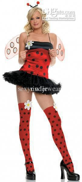 wholesale dot dress buy halloween cosplay sexy daisy bug costume includes wings headpiece and petticoat polka dot dress 4956 21 73 dhgate