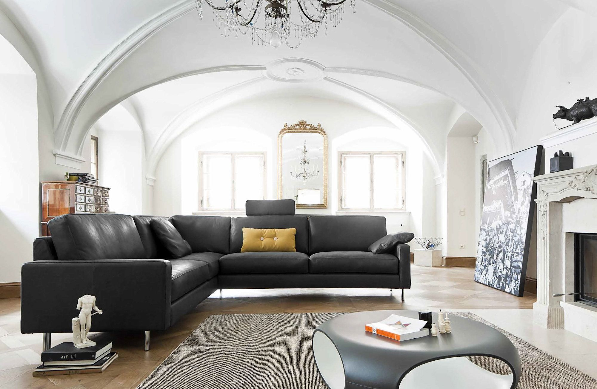 modernes Sofa | Ecksofa | Leder | schwarz - bei Möbel ...