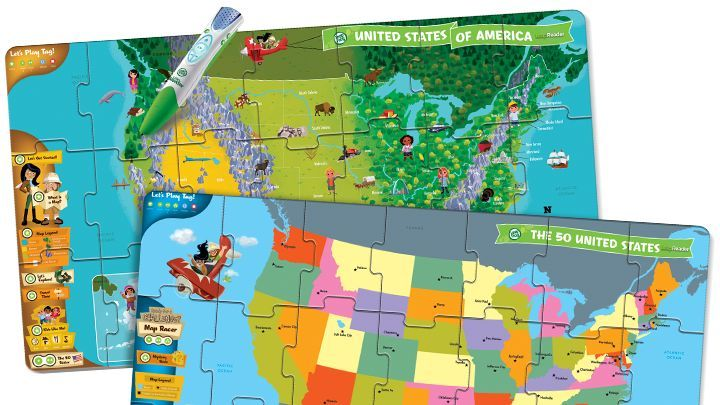 LeapReader Interactive US Map Puzzle Discover America From - Interactive us map puzzle
