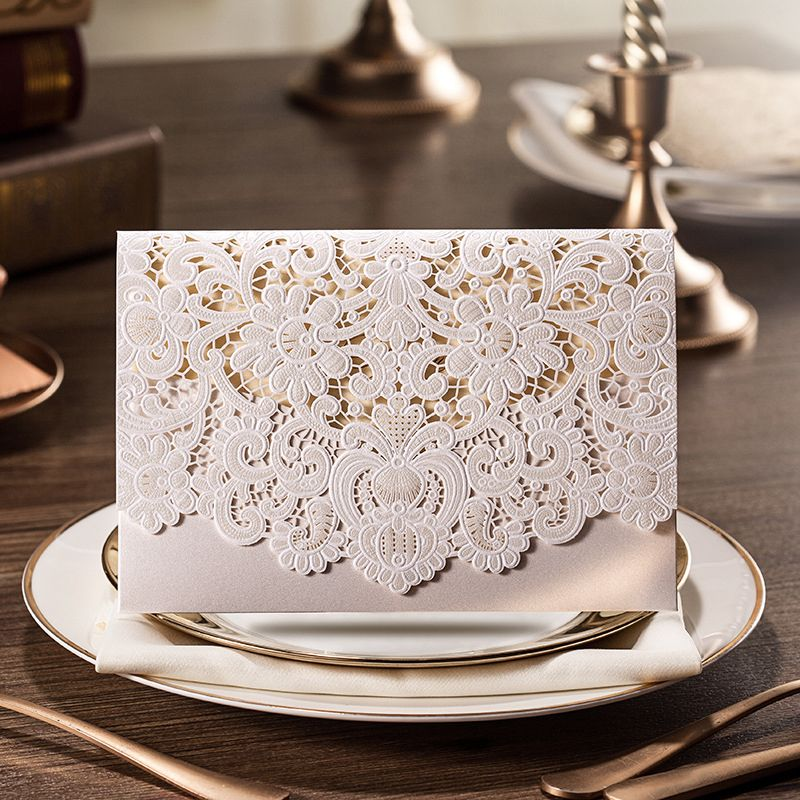 100pcs New Arrival Horizontal Laser Cut Wedding Invitation with White Hollow Flora Favors,Customizable,CW073 #Affiliate