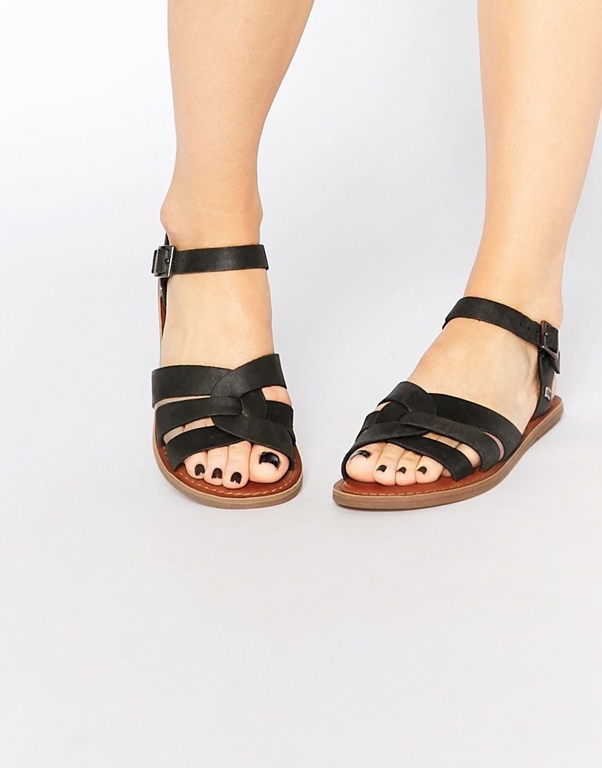 1cae9864d6c8 Image 1 of TOMS Zoe Black Leather Flat Sandals