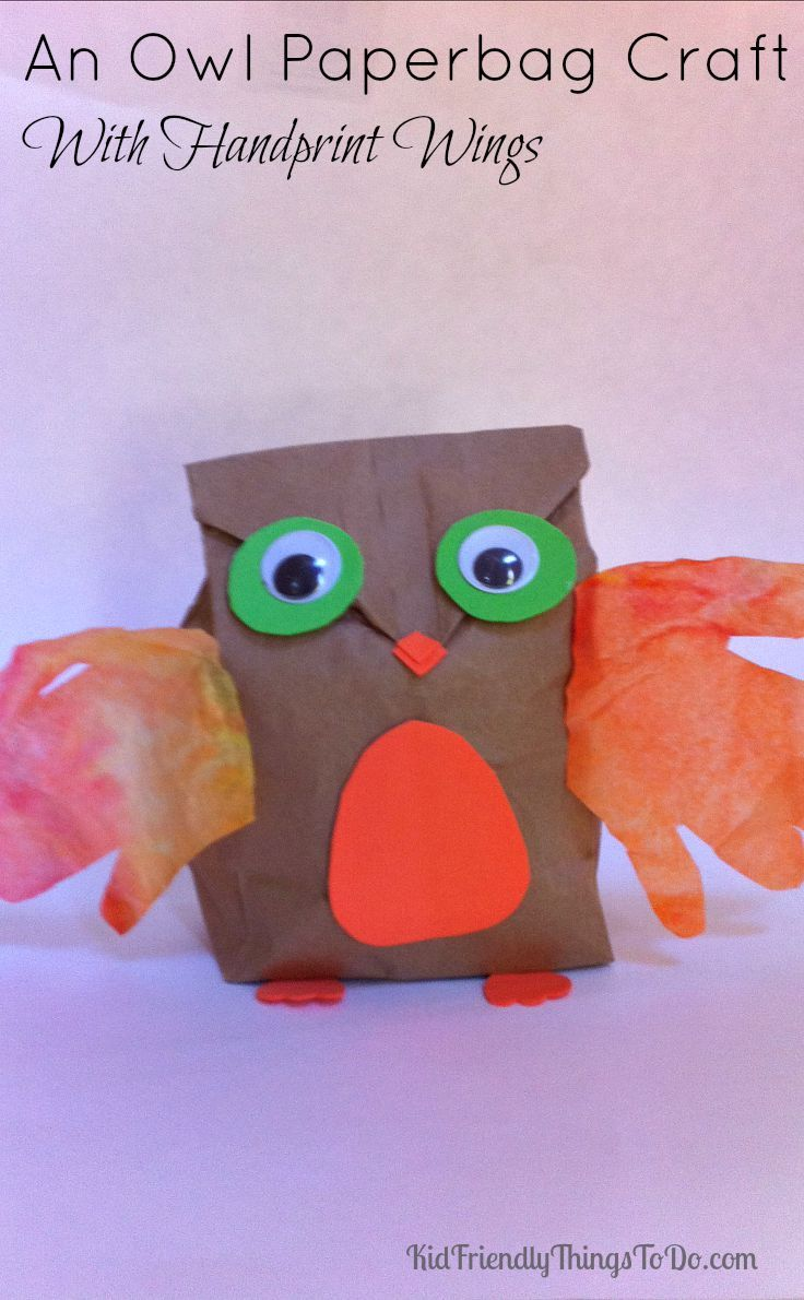 Paper Bag Owl Craft With Child Hand Print Wings Paper Bag Crafts
