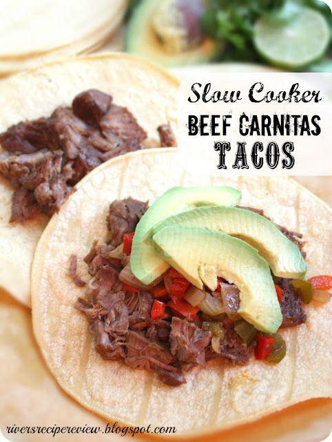 The Recipe Critic: Slow Cooker Beef Carnitas Tacos.  These cook in an amazing spice rub all day with fresh ingredients on top!