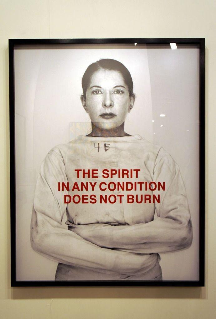 """Marina ABRAMOVIC _ """"  The Spirit in Any Condition Does Not Burn  """"_, 2011 © Marina Abramovic"""
