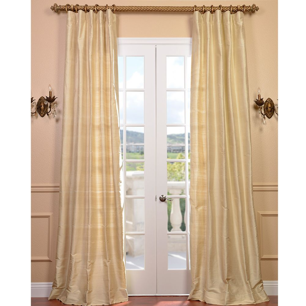 Signature Beige Textured Silk Curtain Panel - Overstock™ Shopping - Great Deals on EFF Curtains