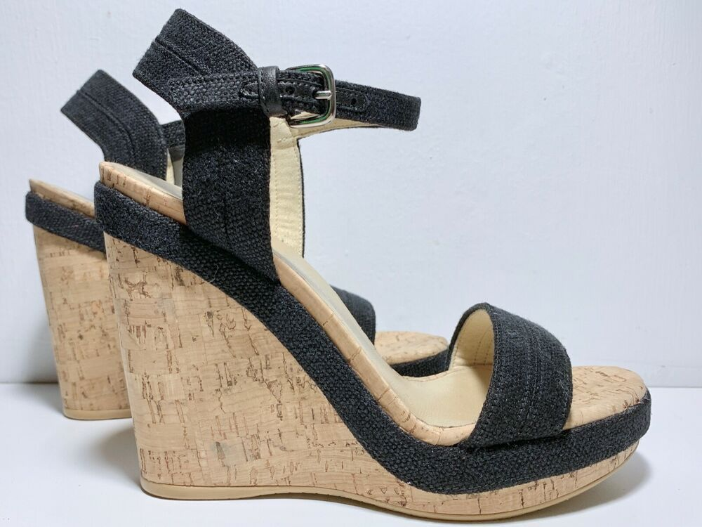 c2f65fc1fb3 Stuart Weitzman Jezebel Cork Wedge Sandal Size 6.5 Black Linen Upper ...