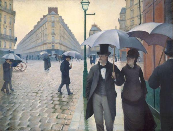 Reproduction de Gustave Caillebotte, Jour De Pluie A Paris. Tableau peint à la main dans nos ateliers. Peinture à l'huile sur toile.