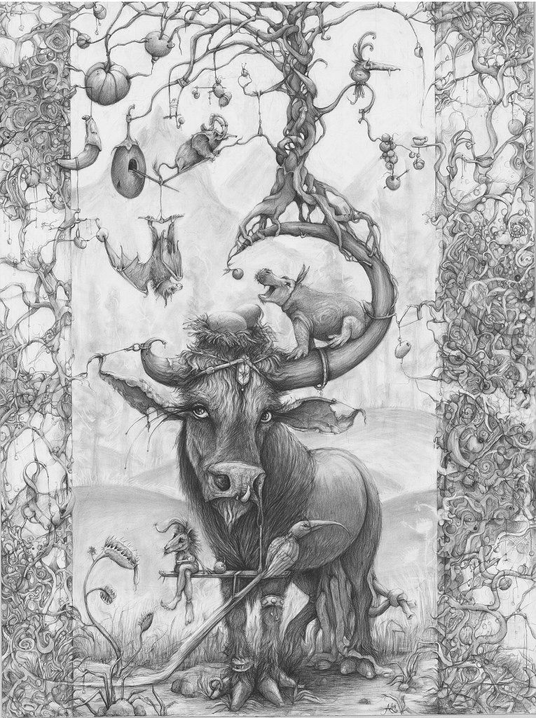 adonna khare s large scale drawings inspired by nature hi fructose magazine