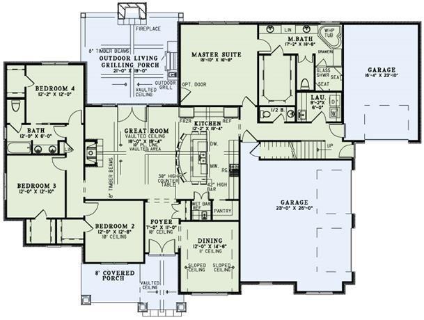 Plan 9296 4 bedroom 3 5 bath house plan with 3 car - 4 bedroom 3 car garage house plans ...