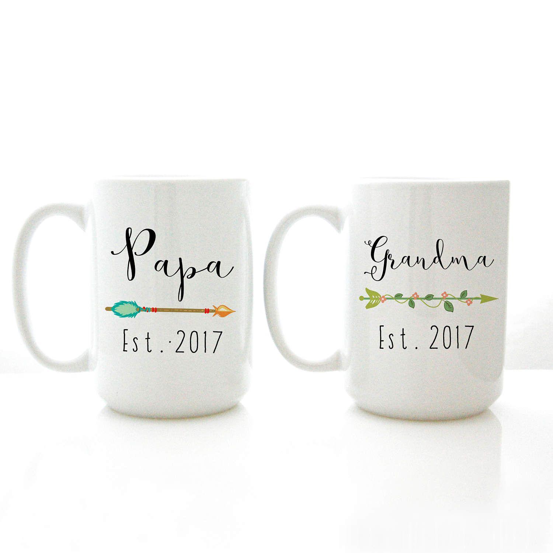 Gift for Grandparents Mug Set with Custom Names and Year Grandma