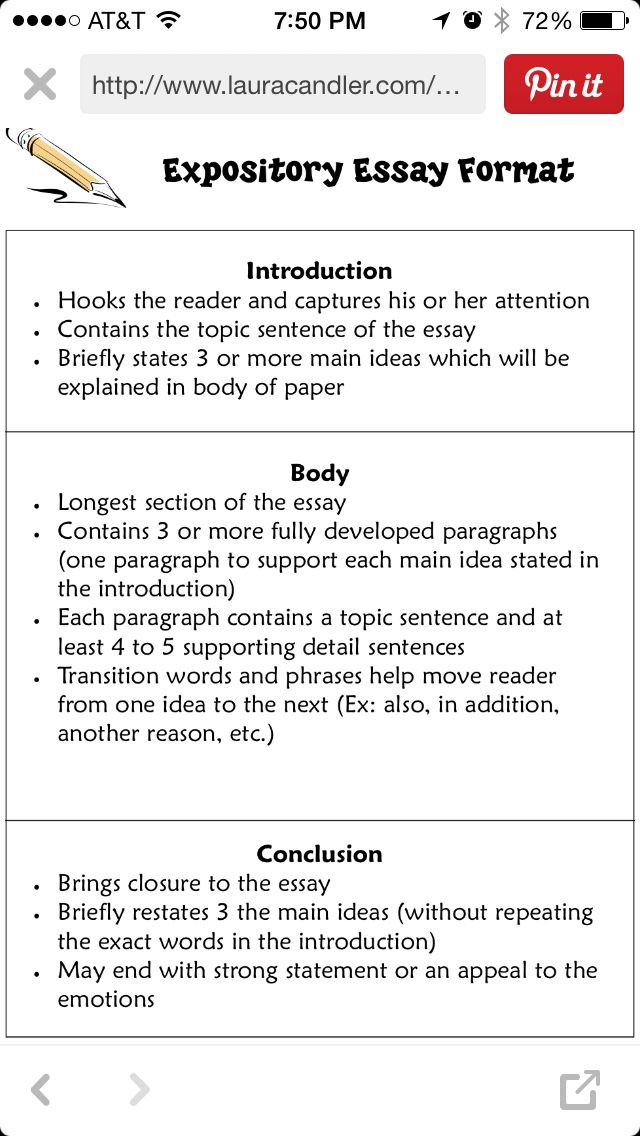 Expository Essay Format Middle School Language Arts Explanatory