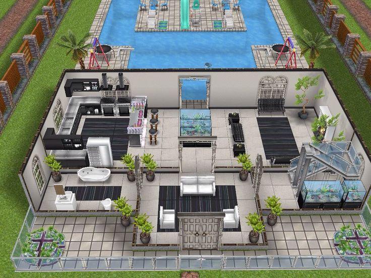 Gde maison avec piscine en y vue rdc sims freeplay for Sims 4 piscine a debordement