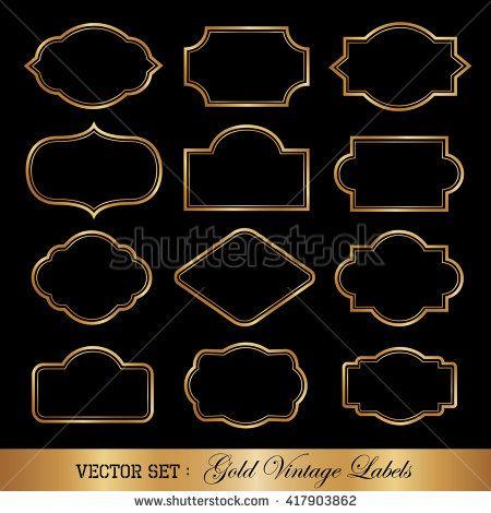 Vintage style golden frames.   Vintage label vector   Pinterest