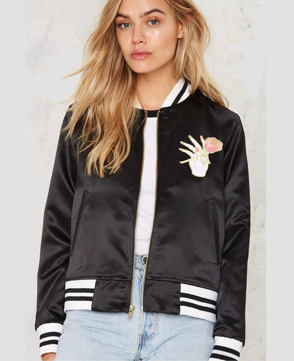 15792616d Pin by Quick Apparels on Women Varsity Jackets | Satin bomber jacket ...