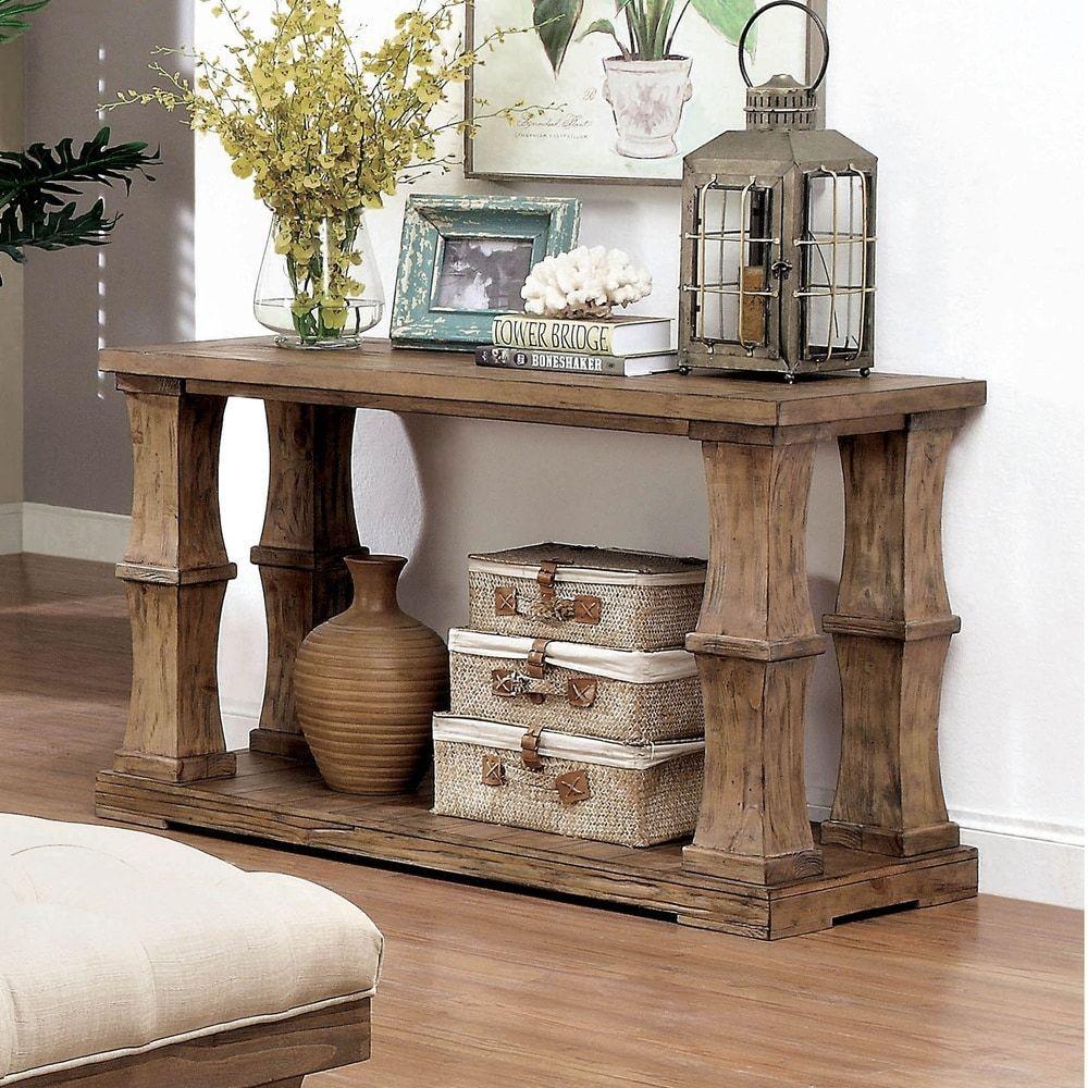 Furniture Of America Temecula Rustic Brown Solid Wood Sofa Table Natural Tone Rustic Living Room Furniture Wood Sofa Table Shabby Chic Furniture