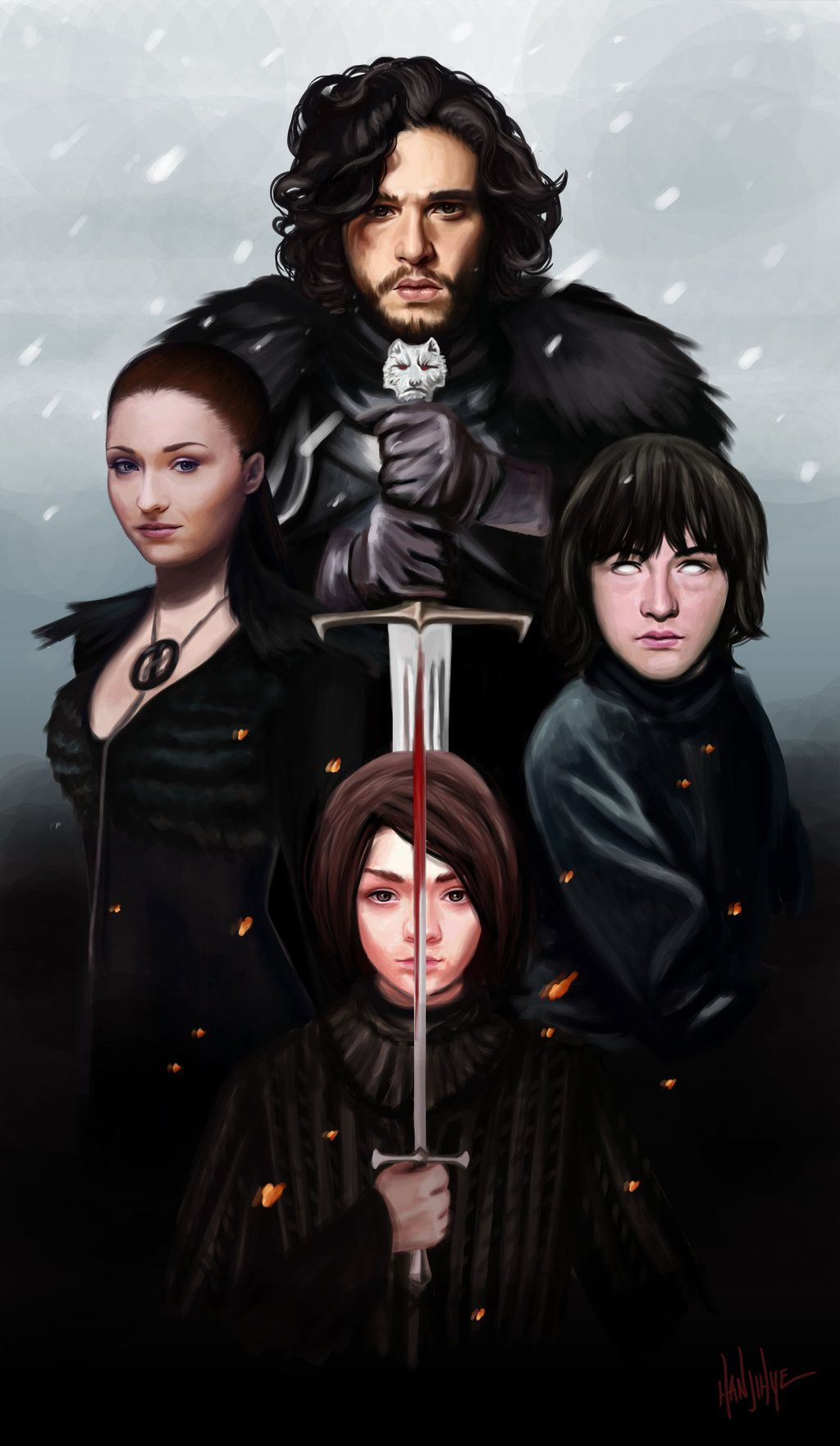"""the north remembers"" by han jihye Very interesting artwork of the remaining Starks... well, besides Rickon."
