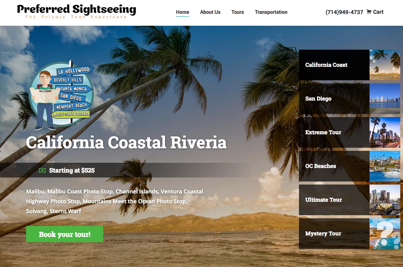 Website Design For Preferred Sightseeing Graphic Design Marketing California Coastal Sightseeing