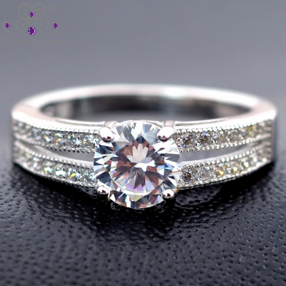 One 1 Carat Genuine 925 Sterling Silver Elegant Eternal Luxury Simulated Diamond Ring For Wome Diamond Rings With Price Simulated Diamond Rings Pricing Jewelry