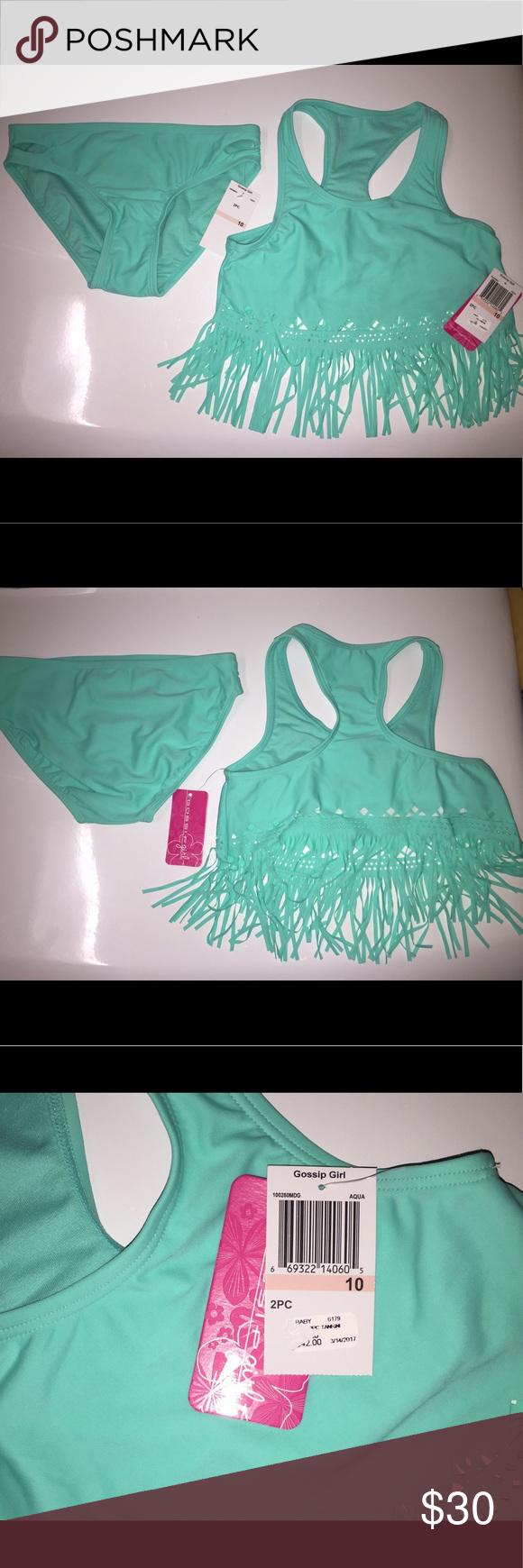Gossip Girl light aqua green girls bathing suit Gossip Girl NWT, aqua green two piece Girls bathing suit, size 10. Never worn. Gossip Girl Swim Bikinis