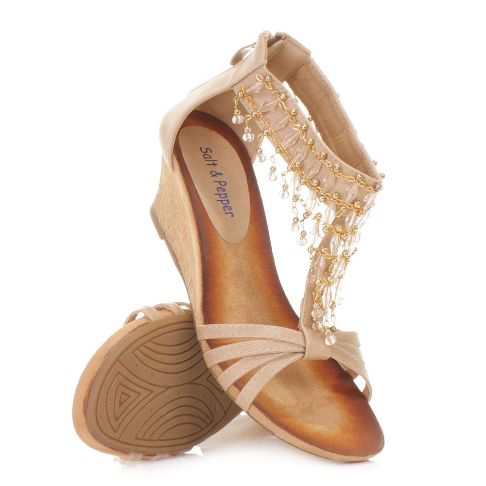 beige sandal wedges   Details about WOMENS BEIGE LOW WEDGE HEEL STRAPPY SANDALS SHOES BEAD ...