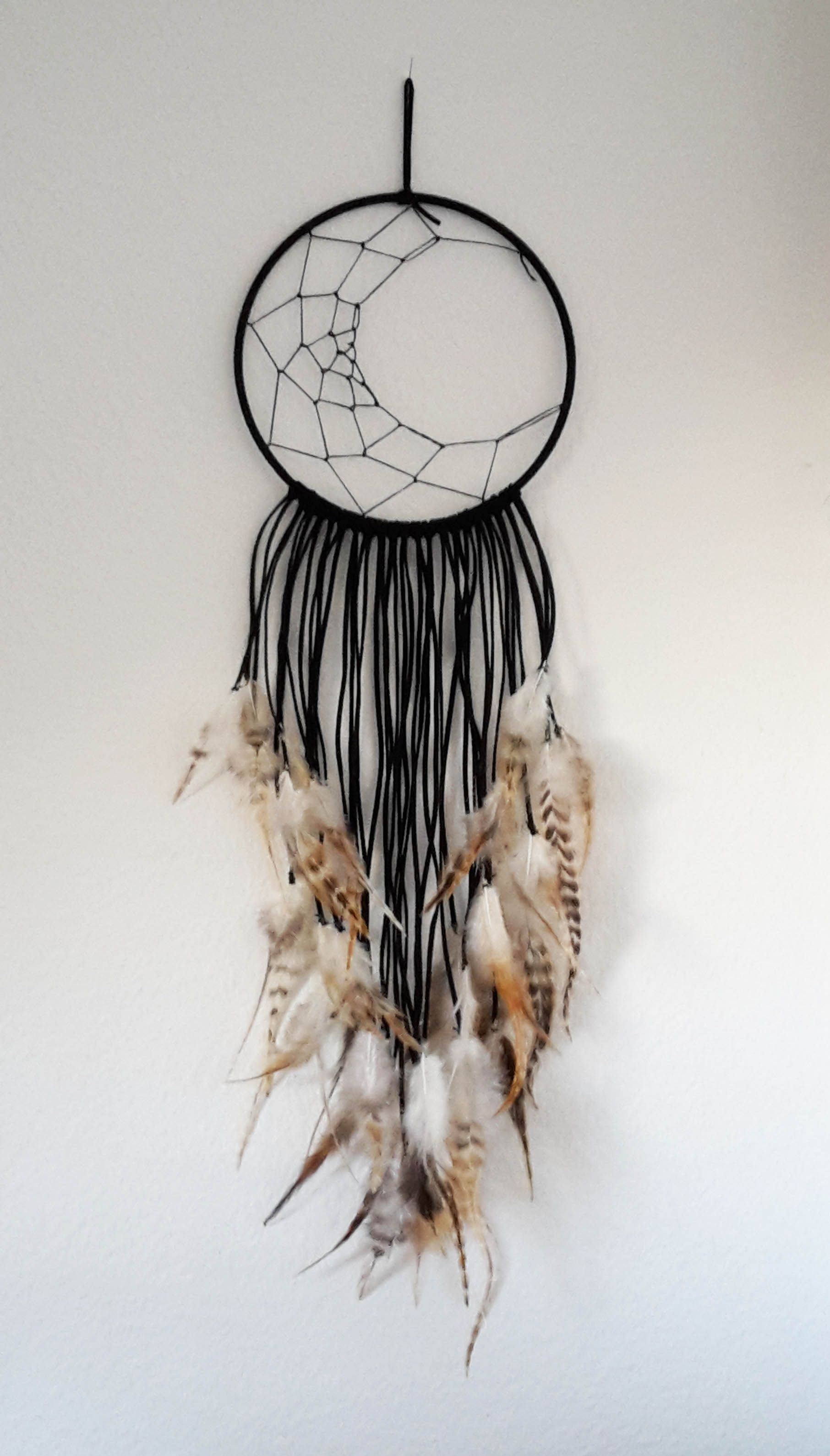 Dream Catcher Half Moon Black With Feathers Dream Catcher Craft