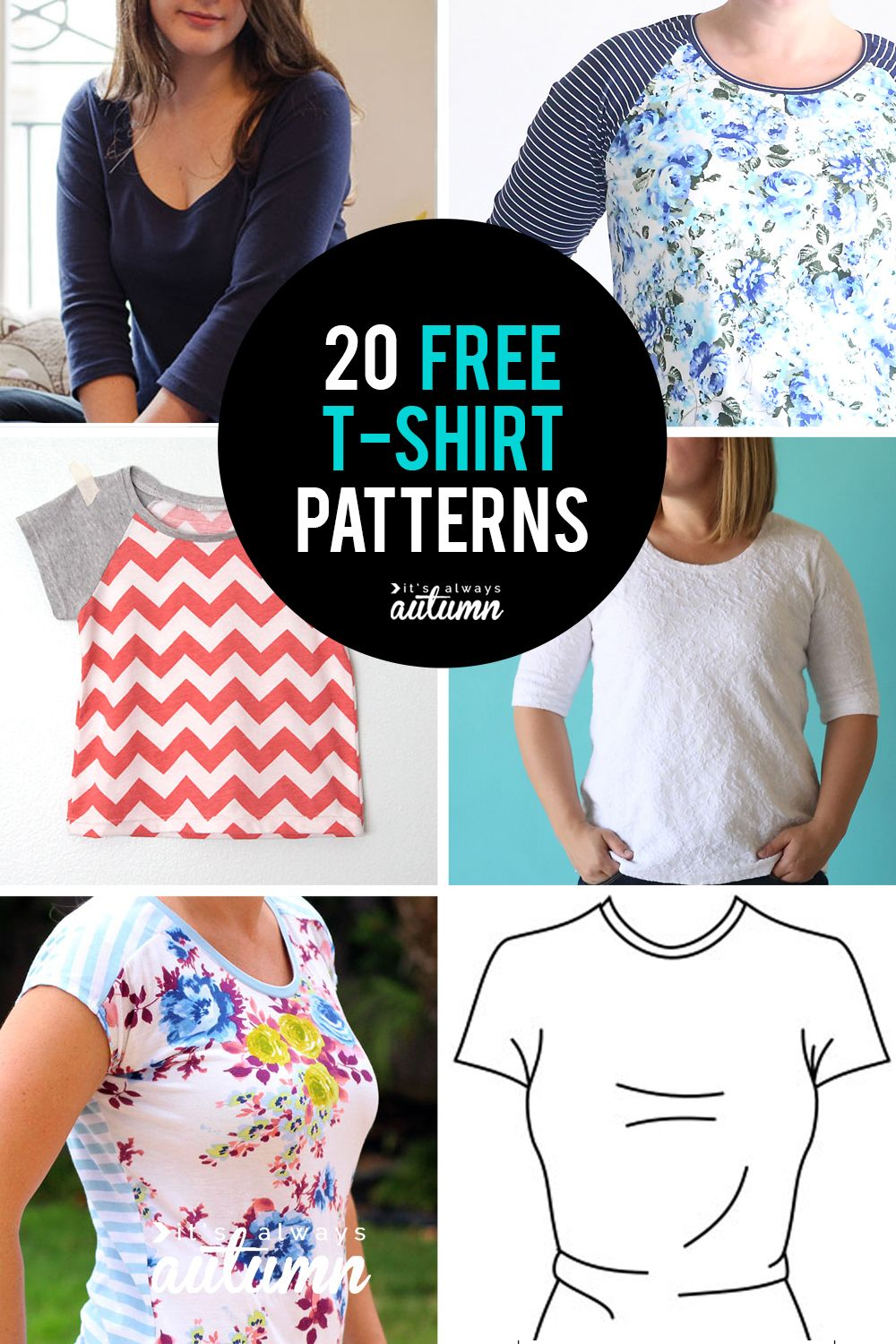 20 free t-shirt patterns in all sizes! Women, children, even one for men. #itsalwaysautumn #sewing #sewingpattern