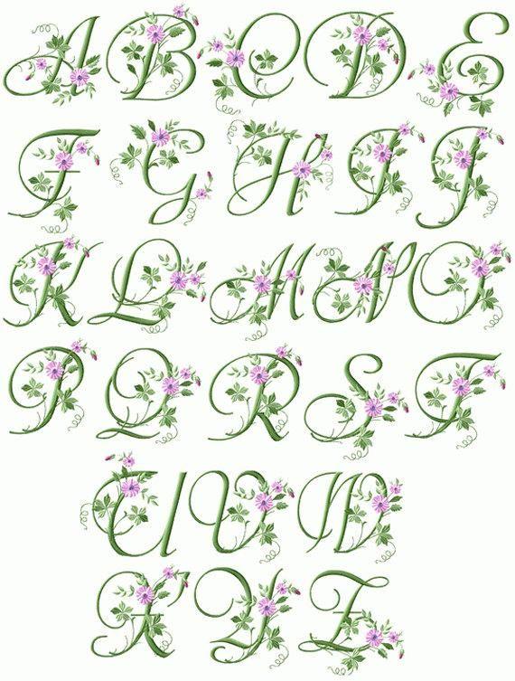 Eleganten floralen Initialen 26 Buchstaben Maschine Stickerei Großbuchstaben für 4 x 4 Hoo F2124