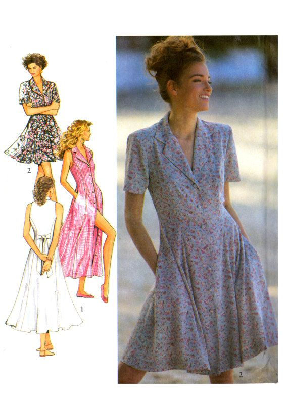 90s Style 2082 Button Front Panelled Dress In Two Lengths Etsy 90s Fashion Panel Dress Dresses