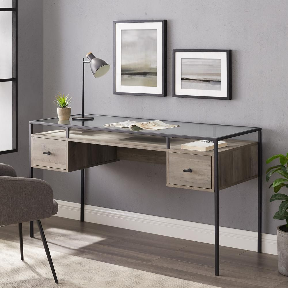 Welwick Designs 56 In Grey Wash Rectangular 2 Drawer Writing Desk With Glass Top Hd8439 The Home De In 2020 Writing Desk Modern Grey Desk Contemporary Writing Desk
