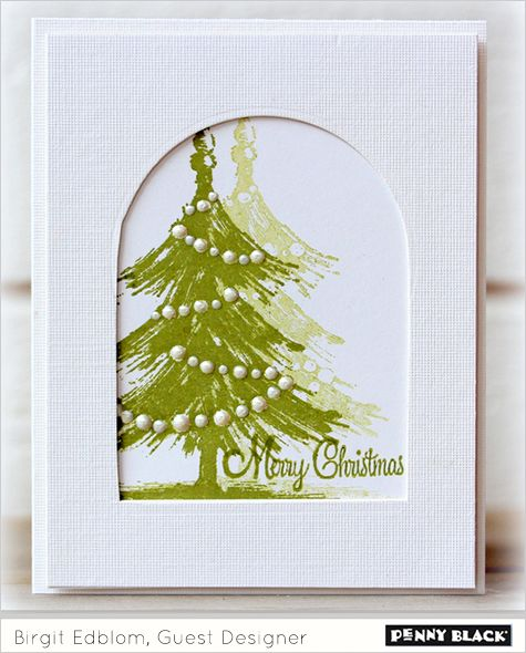 Birgit highlights the fresh color combo of green and white today on two very elegant cards. Birgit's first card features layered stamping using 40-262 Tannenbaum and her second card achieves a memo…